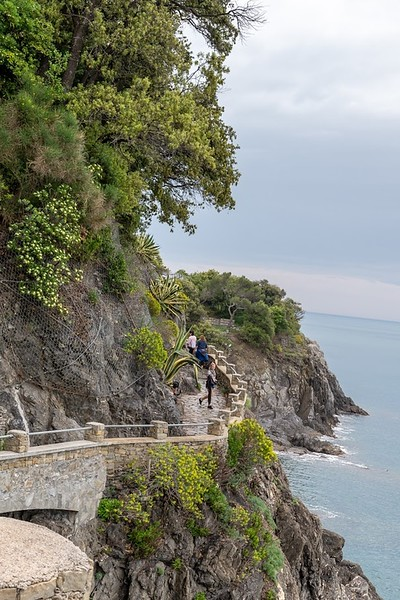 winding trail overlooking the sea while hiking Cinque Terre