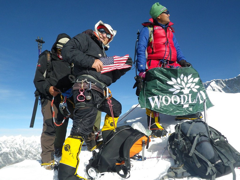 With American flag at Island Peak (20,305ft = 6.189m) along with Lovraj from India.