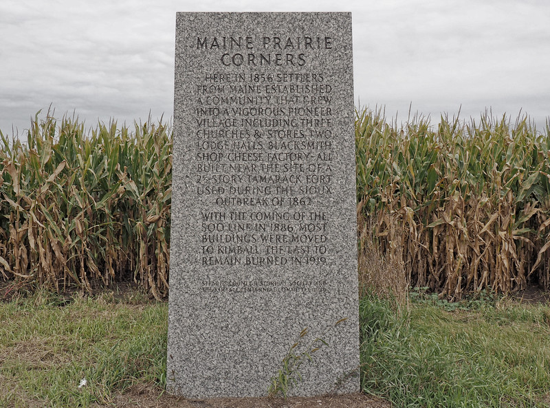 Maine Prairie Corners historic marker