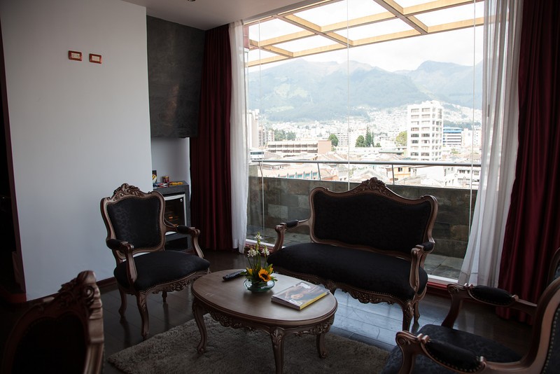 Nice upgrade at the nü house hotel to a top floor room with a view of the city and hills, rather than noisy Plaza Foche.
