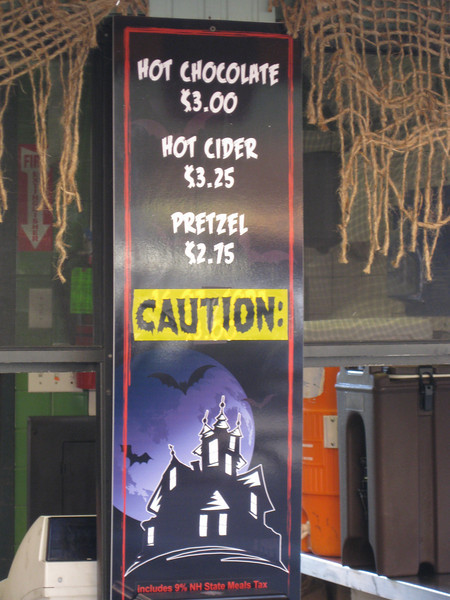 Food concession stands had new Halloween-themed menu signs.