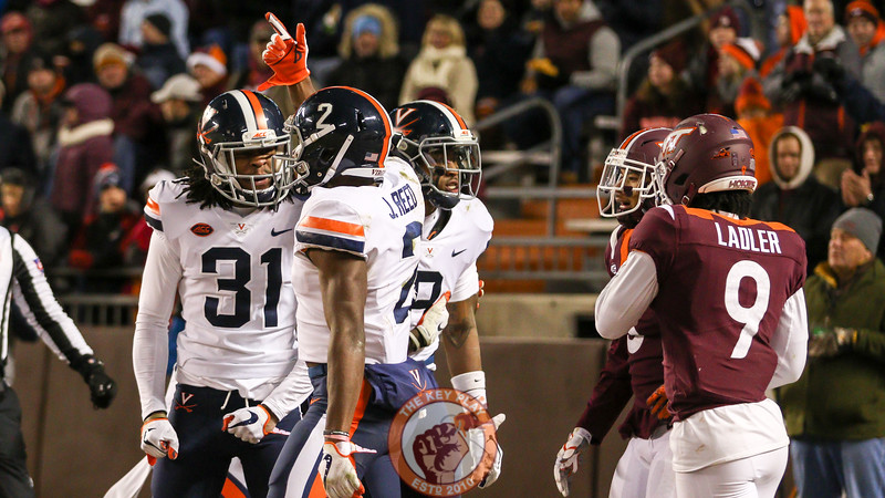 UVa WR Hasise Dubois taunts the Hokies after UVa scores a quick touchdown in response. (Mark Umansky/TheKeyPlay.com)