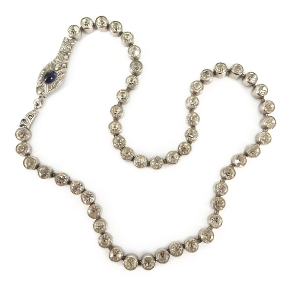 Antique Art Deco Bezel Set Serpent Snake Paste Chain Necklace Bracelet