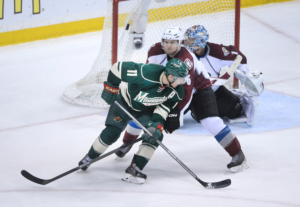 . Minnesota left wing Zach Parise tipped in the winning goal in the third period. The Minnesota Wild defeated the Colorado Avalanche 5-2 Monday night, April 28, 2014 at the Xcel Energy Center in St. Paul. (Photo by Karl Gehring/The Denver Post)