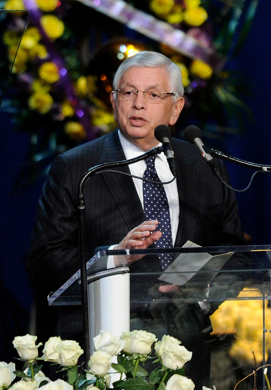 . NBA commissioner David Stern speaks at the Jerry Buss Memorial Service at Nokia Theatre, Thursday, February 21, 2013. (Michael Owen Baker/Staff Photographer)