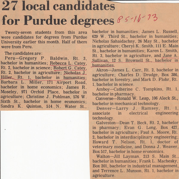 Newspaper Clipping - Nick Hiller & Jane Sullivan - Graduate from Purdue - May 16, 1973.jpg
