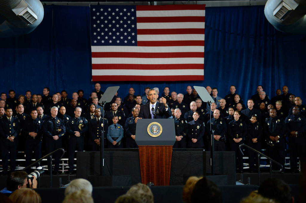 . DENVER, CO. - APRIL 03: President Barack Obama speaking to uniformed officers community leaders at the Denver Police Academy calling for Congress to act more like the state\'s Democratic-controlled legislature to pass stronger gun-control laws April 03, 2013 Denver, Colorado. (Photo By Joe Amon/The Denver Post)