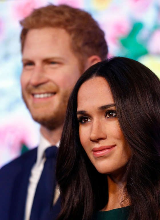 . Britain\'s Prince Harry and his fiancee Meghan Markle are on display as wax figures at Madame Tussauds in London, Wednesday, May 9, 2018. As the world eyes are on the upcoming royal wedding, Madame Tussauds London unveils Meghan Markle\'s figure, standing alongside a re-styled figure of her groom, Prince Harry. (AP Photo/Frank Augstein)