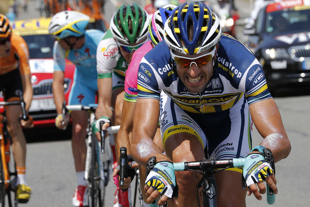 . Spain\'s Juan Antonio Flecha leads the breakaway during the 218 km twelfth stage of the 100th edition of the Tour de France cycling race on July 11, 2013 between Fougères and Tours, northwestern France.  PASCAL GUYOT/AFP/Getty Images