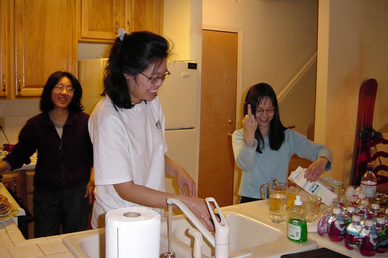 The ladies prepare breakfast with attitude