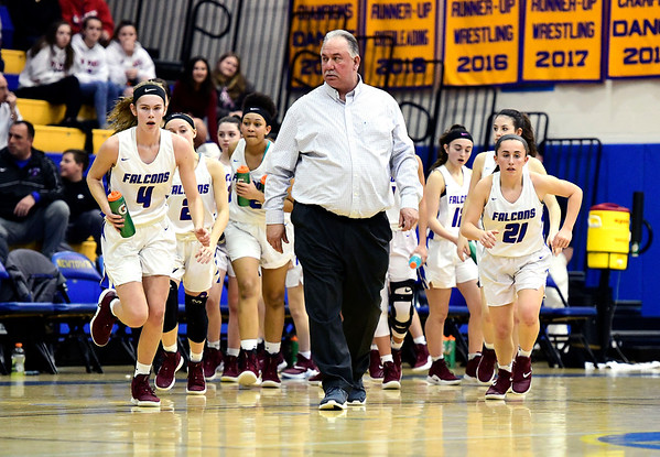 3/8/2019 Mike Orazzi | Staff St. Paul Catholic High School Joe Mone during the Class S Semifinal girls basketball game with Trinity Catholic at Newtown High School Friday night in Newtown.