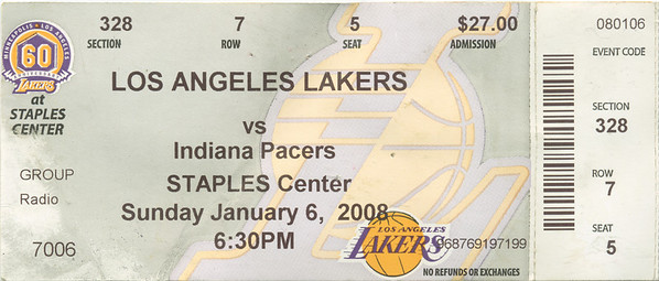 Lakers vs Pacers 01-06-2008