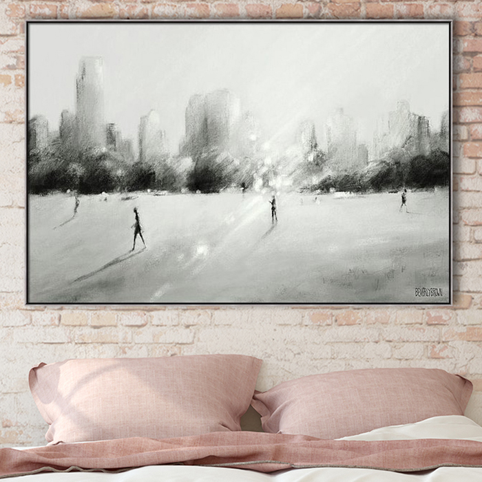 Great Lawn Light Central Park Black White Gray New York Framed Canvas Wall Art Over the Bed in a blush pink bedroom. Custom wall art by Beverly Brown - beverlybrown.com