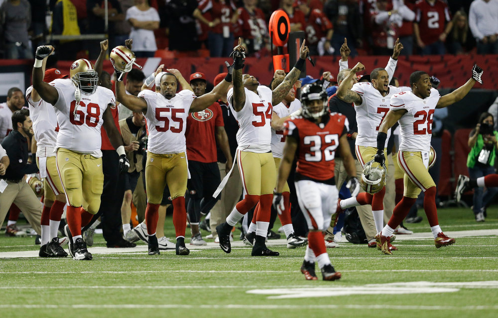 Description of . The San Francisco 49ers bench erupts after the NFL football NFC Championship game against the Atlanta Falcons Sunday, Jan. 20, 2013, in Atlanta. The 49ers won 28-24 to advance to Super Bowl XLVII. (AP Photo/John Bazemore)