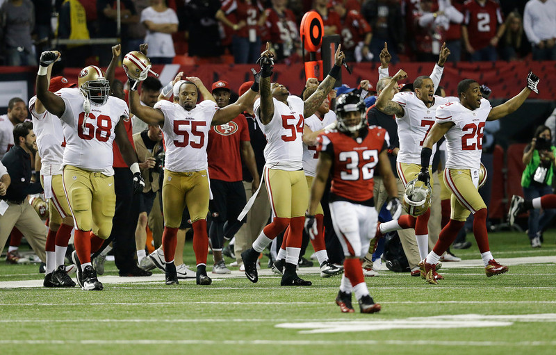. The San Francisco 49ers bench erupts after the NFL football NFC Championship game against the Atlanta Falcons Sunday, Jan. 20, 2013, in Atlanta. The 49ers won 28-24 to advance to Super Bowl XLVII. (AP Photo/John Bazemore)