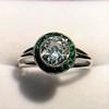 1.30ctw Old European Cut Diamond Emerald Target Ring 18