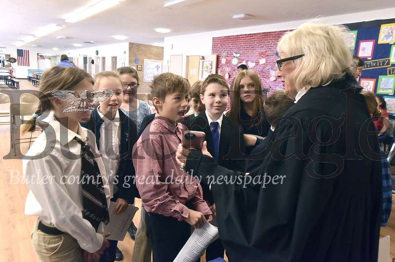 50737 Holy Sepulcher Catholic School fourth grade class had a mock trail with District Judge Sue Haggerty
