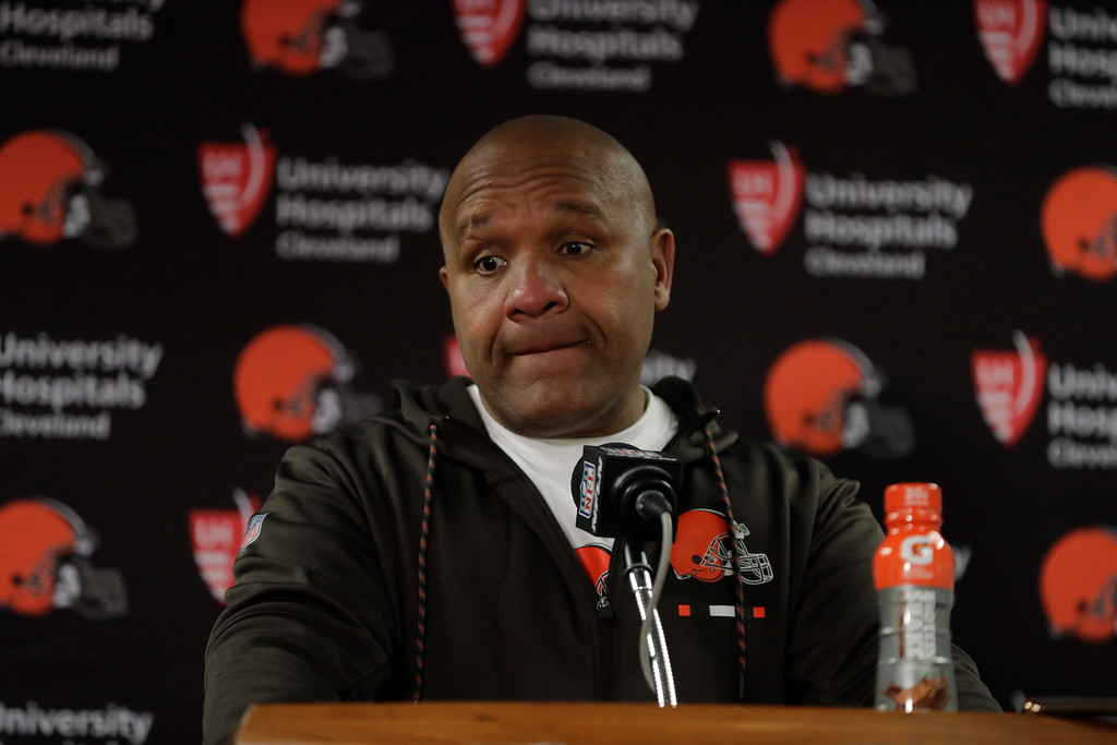 . Cleveland Browns head coach Hue Jackson talks to the media after an NFL football game against the Chicago Bears in Chicago, Sunday, Dec. 24, 2017. Cleveland loss 20-3. (AP Photo/Charles Rex Arbogast)