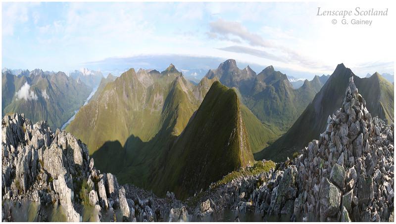 Mamore ridge and Ben Nevis from Na Gruagaichean