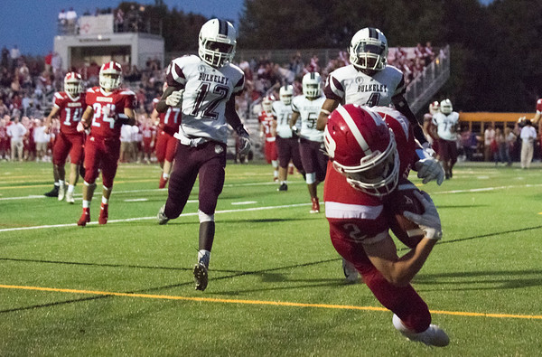 09/20/19 Wesley Bunnell | StaffrrBerlin football defeated Bulkeley on Friday night at Sage Park. Jamie Palmese (2) with a leaping touchdown catch in the corner of the end zone.