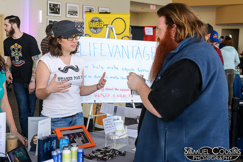 The Lifevantage booth at the Facial Hair Farmer's Market.