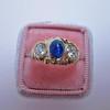1.75ctw Cab Sapphire and Old European Cut Diamond 3-stone Ring 8