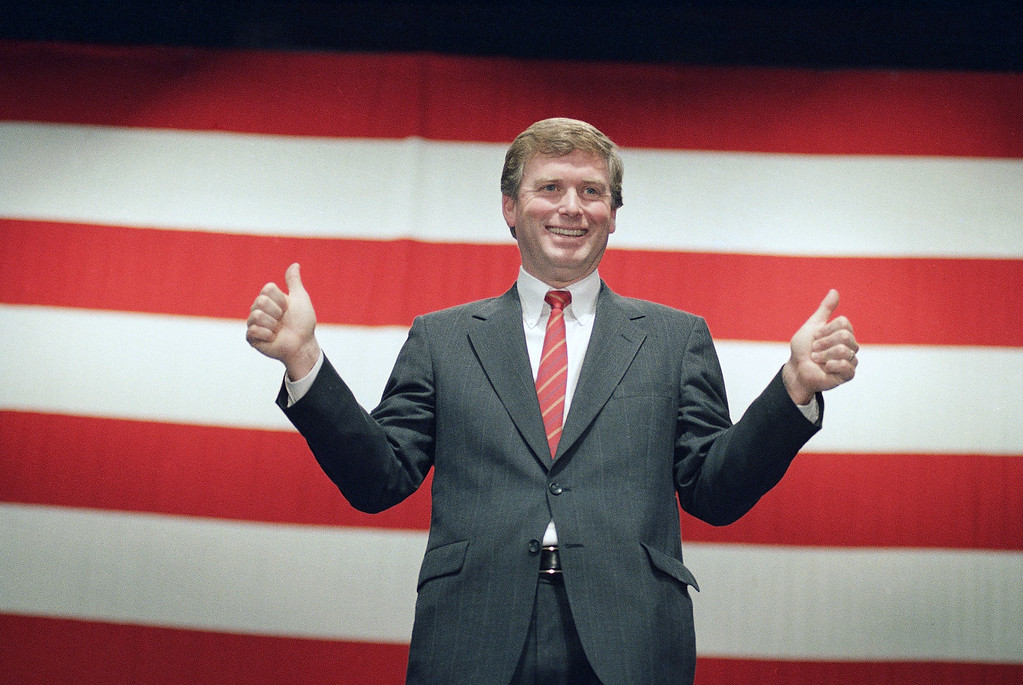 . Vice President-elect Dan Quayle double thumbs up as he addresses a youth rally in Washington  Thursday, Jan. 19, 1989. (AP Photo/Marcy Nighswander)