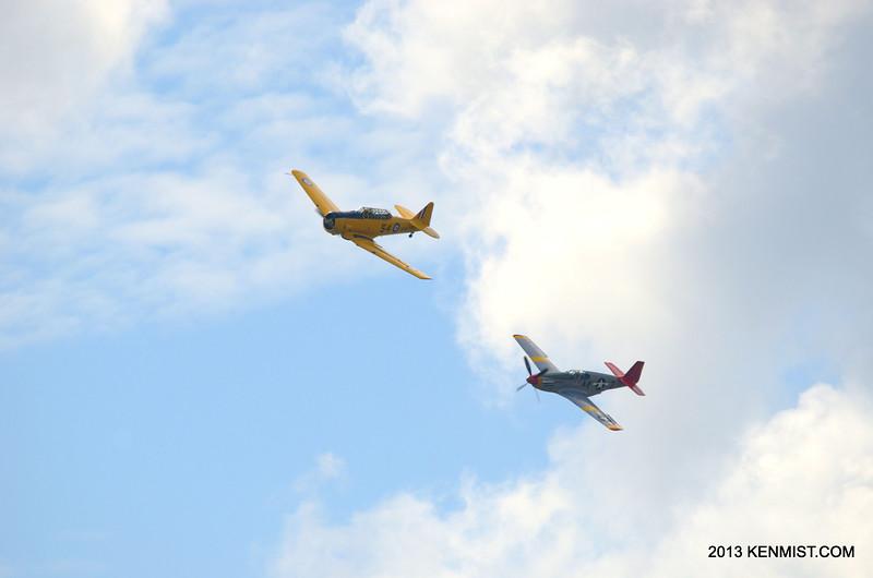 Red Tail Squadron P-51C Mustang and Canadian Harvard Aircraft Association Harvard