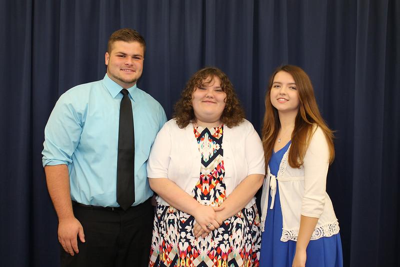 From left to right: Highland High School Salutatorian Frank Alfonso, Principal's Award recipient Kaitlyn Poluzzi, and Valedictorian Alexa Langseder.