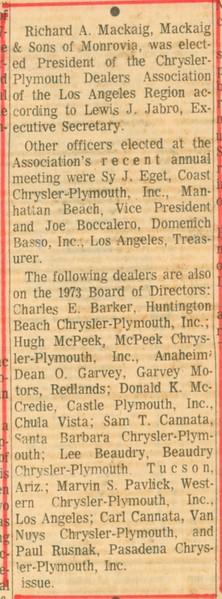 1973, Elected Treasurer