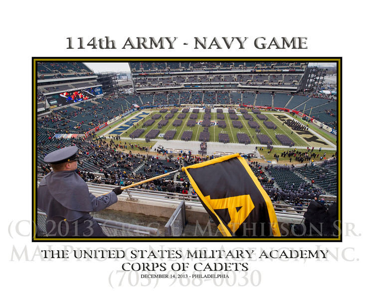 West Point Corps of cadets march on the field of the Army Navy game on December 14, 2014
