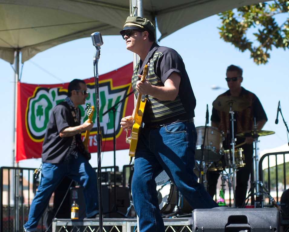 """. IDB-L-DBROUTE66-SAT-015 The Wayford Brothers band perform as classic cars line Euclid Ave in Ontario, for the  \"""" Route 66 Cruisin� Reunion\"""", on Saturday, September 21, 2013. (photos by Frank Perez for the Daily Bulletin)"""