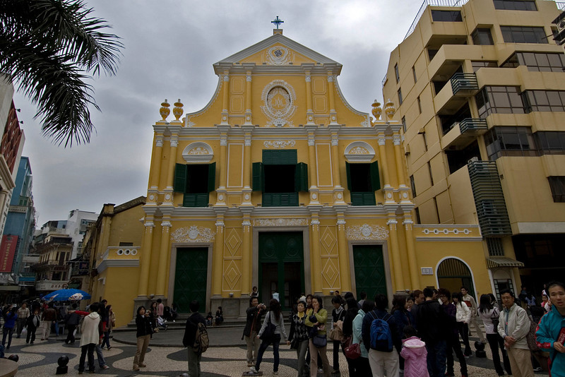 Tourists gathered in front of St. Dominic's Church in Macau