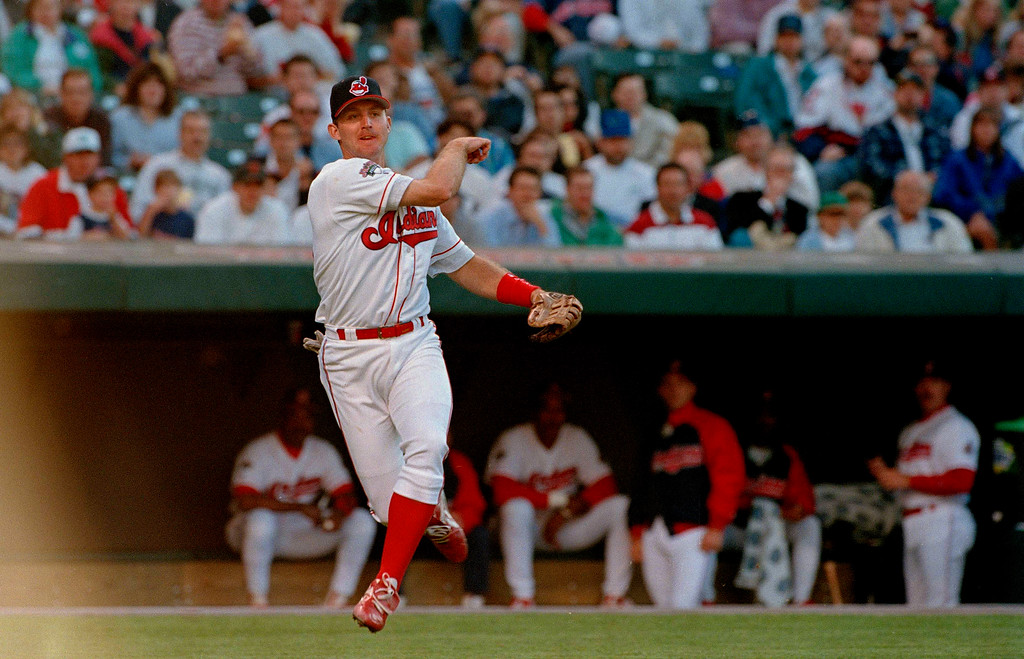 . Third baseman Jim Thome of the Cleveland Indians throws the ball during a game against the Detroit Tigers at Jacobs Field in Cleveland, Ohio, June 5, 1995. (AP Photo/Mark Duncan)