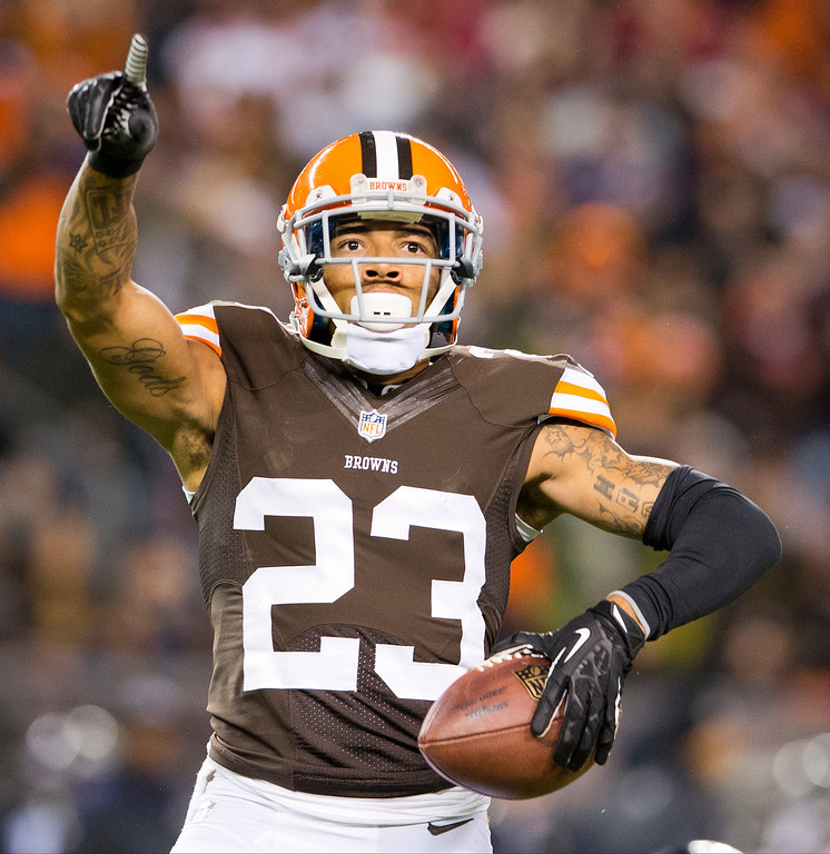. Cornerback Joe Haden #23 of the Cleveland Browns celebrates after catching and interception during the first half against the Baltimore Ravens at FirstEnergy Stadium on November 3, 2013 in Cleveland, Ohio. (Photo by Jason Miller/Getty Images)