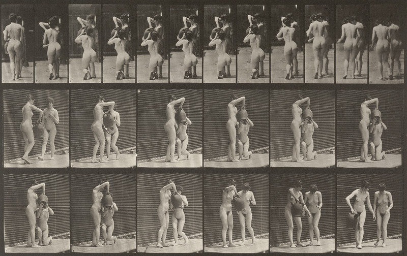 Nude woman kneels and drinks from the water jar of another woman and both walk off (Animal Locomotion, 1887, plate 453)