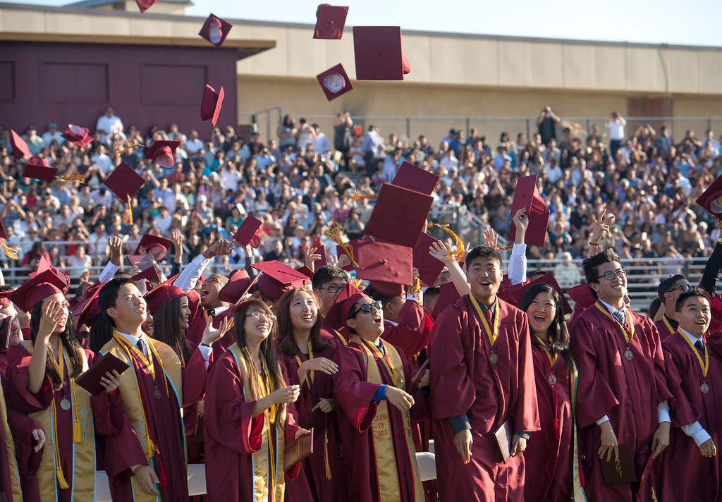 . Wilson High graduates toss their mortar boards in the air at the conclusion of the 46th annual commencement exercises at the Hacienda Heights campus May 20, 2013.    (SGV Tribune staff photo by Leo Jarzomb)