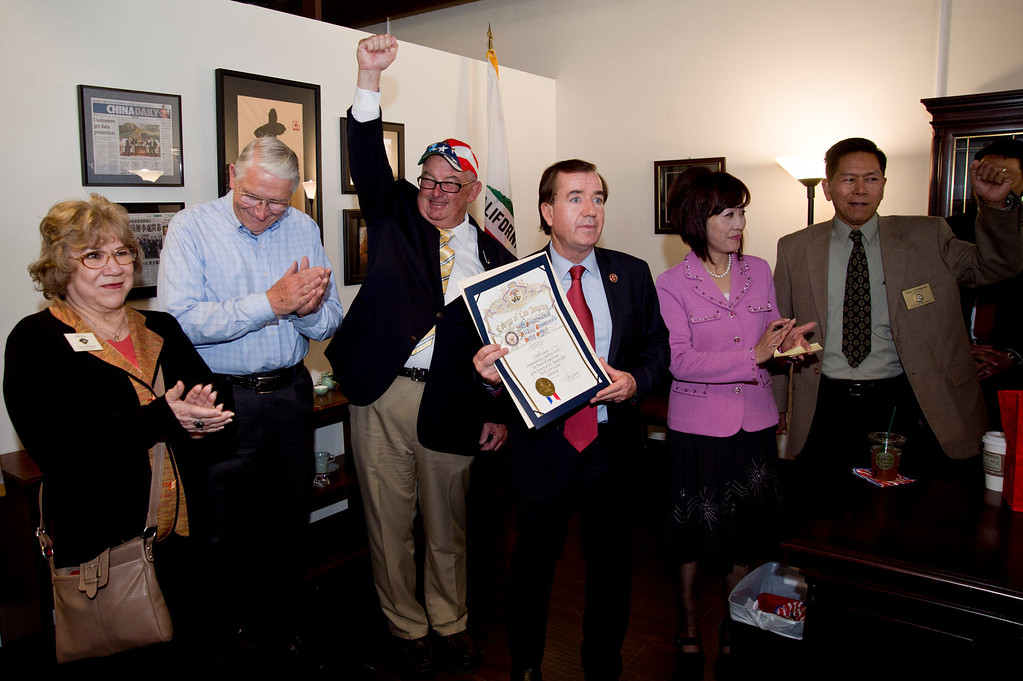 . U.S. Rep. Ed Royce, R-Fullerton, center, with local dignitaries during an open house at his new district office at Diamond Plaza in Rowland Heights on Tuesday, March 26, 2013. (SGVN/Staff photo by Watchara Phomicinda)