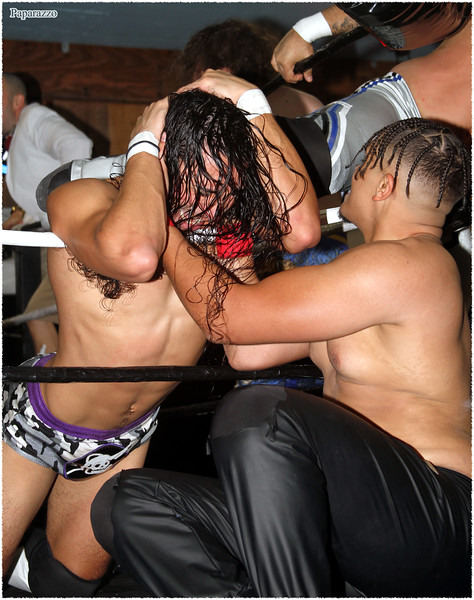 "Elijah Six of The Firm vs. Gabriel Skye of The Nightcrawlers during the Test Of Strength Wrestling ""Halloween Throwdown"" event held on October 24, 2020 at Riders Smokehouse Bar and Grill in Thomaston, Connecticut."