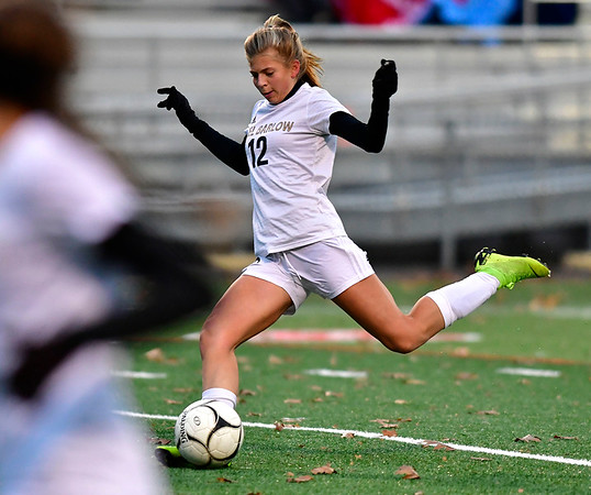 11/12/2019 MIke Orazzi | StaffrJoel Barlow High School's Samantha Colby (12) during the Class L First Round Girls Soccer Tournament with Berlin in Sage Park in Berlin.
