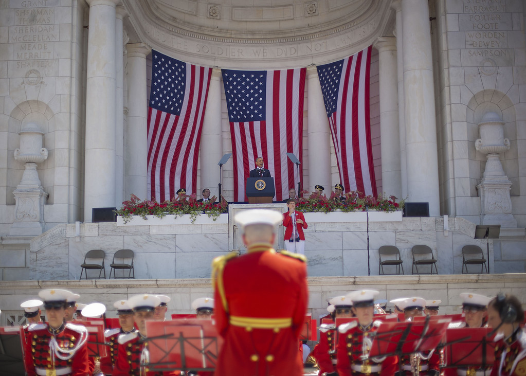 . President Barack Obama speaks during a Memorial Day Observance at Arlington National Cemetery in Arlington, Va., Monday, May 25, 2015. Playing just below Obama in the Memorial Amphitheater are members of The President\'s Own, United States Marine Band. (AP Photo/Pablo Martinez Monsivais)