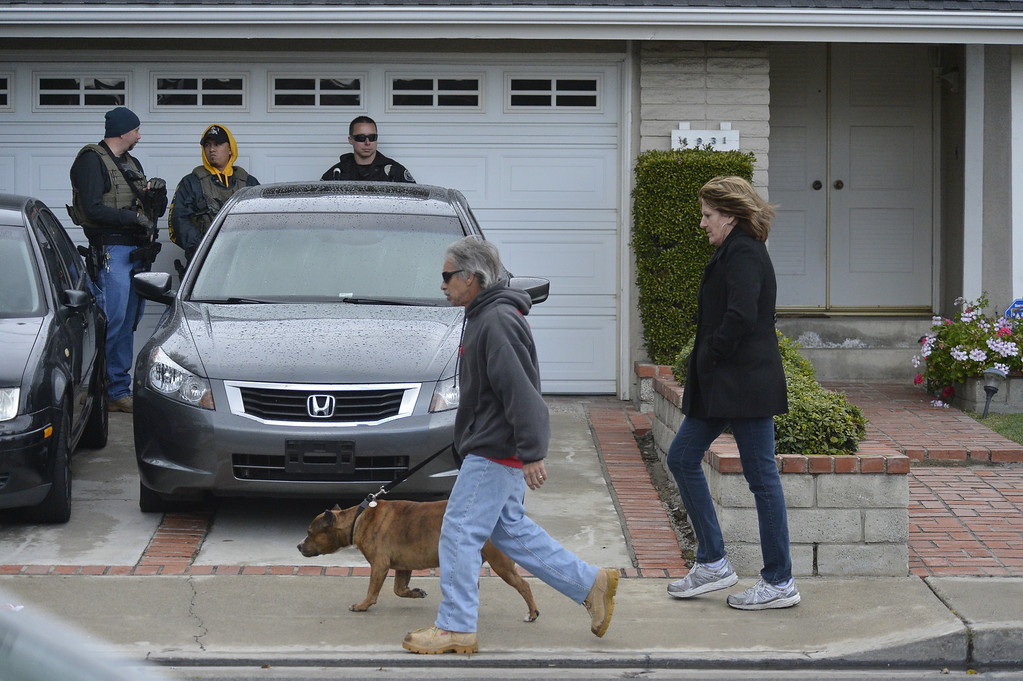 . LA PALMA, CALIF. -- Police investigate the home of the mother of the alleged triple-murder  Christopher Dorner in La Palma, California on February 8, 2013.