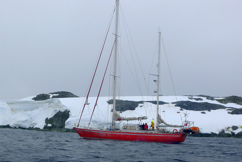 "The sailboat ""Selma Expeditions"" nears Wordie House onWinter Island. 65˚15'S, 64˚16'W