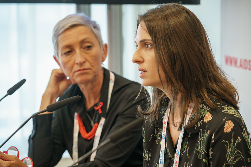 22nd International AIDS Conference (AIDS 2018) Amsterdam, Netherlands.   Copyright: Matthijs Immink/IAS  PRESS CONFERENCE Sex Workers & End Demand Policies  On the photo: Linda-Gail Bekker Elena Argento
