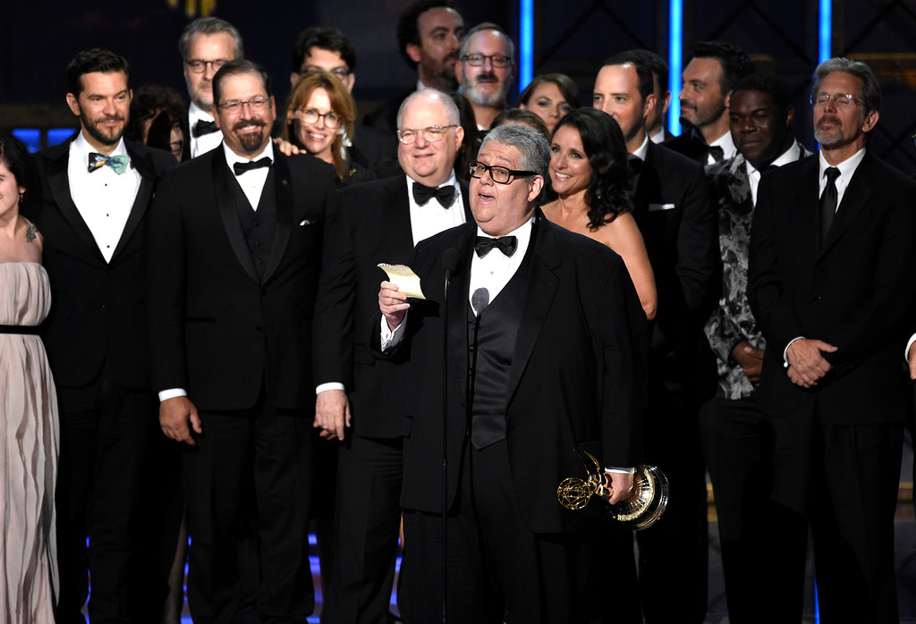 """. Frank Rich and cast accept the award for outstanding comedy series for \""""Veep\"""" at the 69th Primetime Emmy Awards on Sunday, Sept. 17, 2017, at the Microsoft Theater in Los Angeles. (Photo by Chris Pizzello/Invision/AP)"""