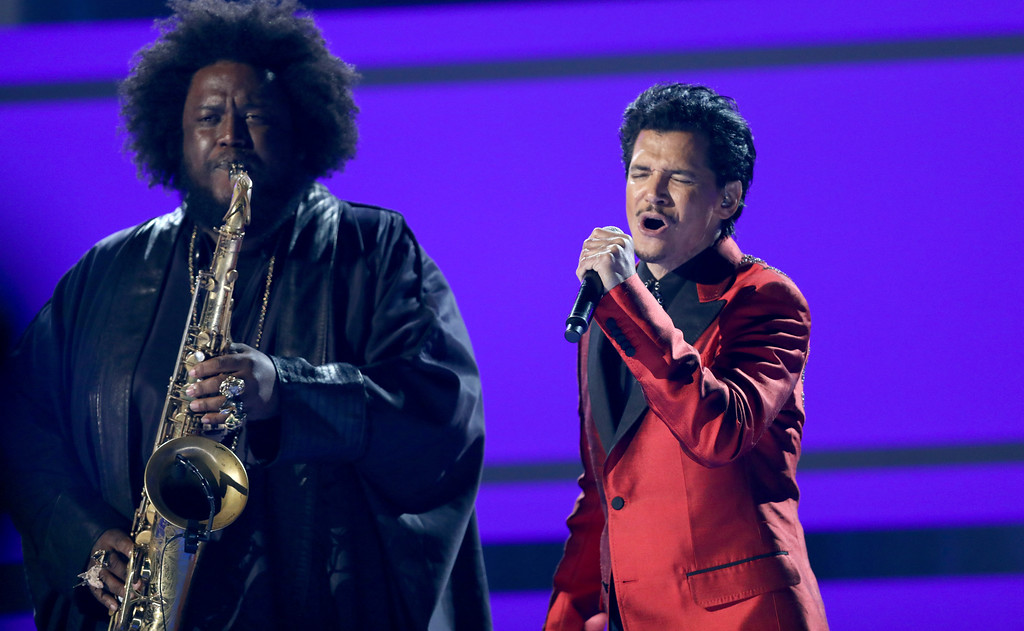 ". Kamasi Washington, left, and El DeBarge perform ""Careless Whisper\"" at the BET Awards at the Microsoft Theater on Sunday, June 25, 2017, in Los Angeles. (Photo by Matt Sayles/Invision/AP)"