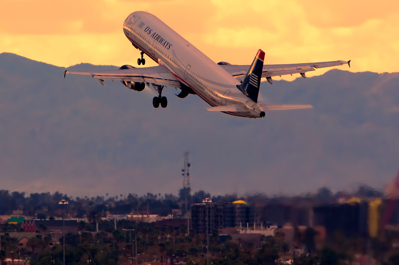 A321 Departs Over Pheonix