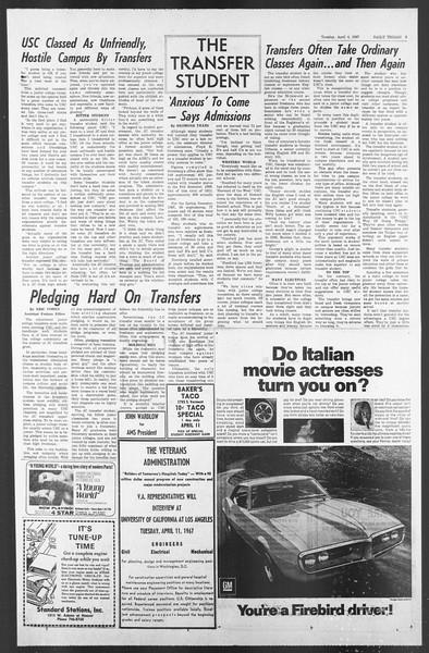 Daily Trojan, Vol. 58, No. 98, April 04, 1967
