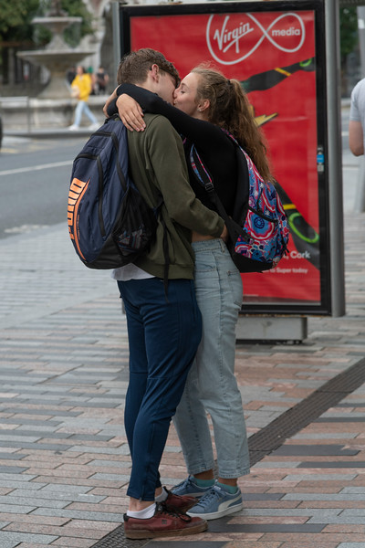 Couple kissing on the street, City of Cork, County Cork, Ireland