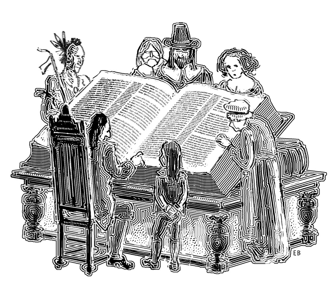 Illustration for a review of Mark Noll's book, In the Beginning Was the Word: The Bible in American Public Life, 1492-1783